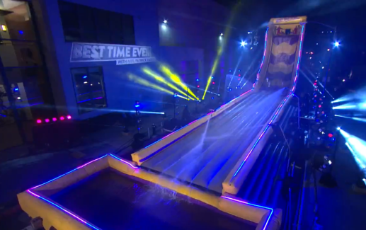The inflatable course for Ticket to Slide